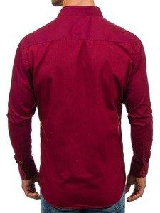 Koszula męska elegancka z długim rękawem bordowa Denley TS100
