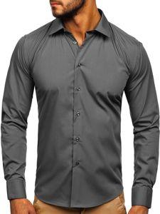 Koszula męska elegancka z długim rękawem brązowa Denley 0001
