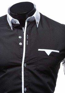Koszula męska elegancka z długim rękawem czarna Bolf 5726