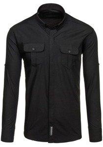 Koszula męska elegancka z długim rękawem czarna Denley 0780