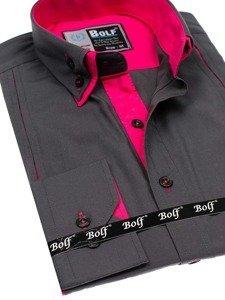 Koszula męska elegancka z długim rękawem grafitowo-różowa Bolf 4744