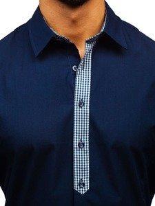 Koszula męska elegancka z długim rękawem granatowa Bolf 0939