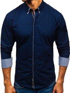 Koszula męska elegancka z długim rękawem granatowa Bolf 2701-1
