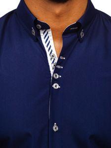 Koszula męska elegancka z długim rękawem granatowa Bolf 5796