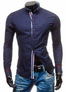 Koszula męska elegancka z długim rękawem granatowa Bolf 5801