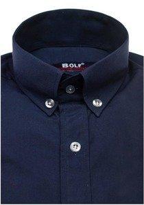 Koszula męska elegancka z długim rękawem granatowa Bolf 6942