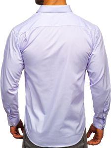 Koszula męska elegancka z długim rękawem jasnofioletowa Denley 0003