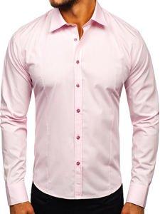 Koszula męska elegancka z długim rękawem różowa Bolf 1703