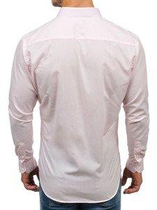 Koszula męska elegancka z długim rękawem różowa Denley TS100