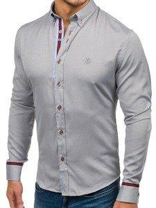 Koszula męska elegancka z długim rękawem szara Bolf 5801