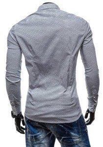 Koszula męska elegancka z długim rękawem szara Denley 7182