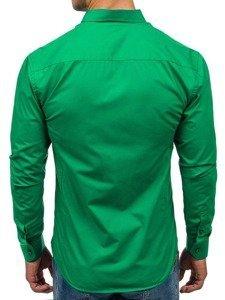 Koszula męska elegancka z długim rękawem zielona Bolf 1703
