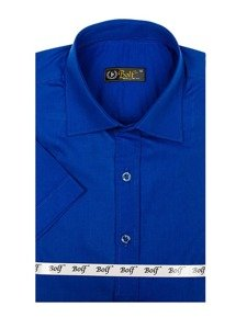 Koszula męska elegancka z krótkim rękawem chabrowa Bolf 7501