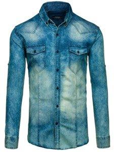 Koszula męska jeansowa z długim rękawem granatowo-szara Denley 0895