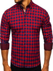 Koszula męska w kratę z długim rękawem czerwona Bolf 4701