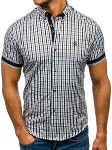 Koszula męska w kratę z krótkim rękawem czarna Bolf 4510