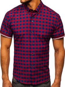 Koszula męska w kratę z krótkim rękawem czerwona Bolf 4508
