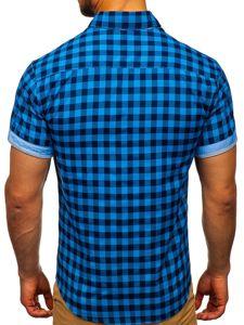 Koszula męska w kratę z krótkim rękawem niebieska Bolf 4508
