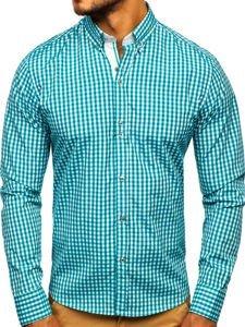 Koszula męska w kratkę z długim rękawem zielona Bolf 9712