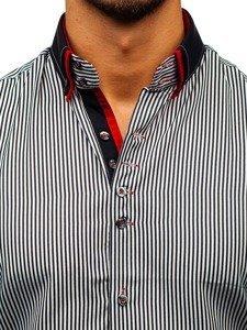 Koszula męska w paski z długim rękawem czarno-biała Bolf 2751