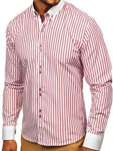 Koszula męska w paski z długim rękawem czerwona Bolf 9713