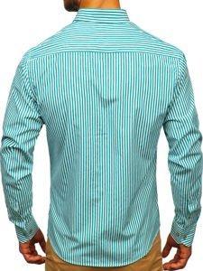 Koszula męska w paski z długim rękawem zielona Bolf 9711