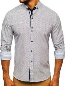 Koszula męska we wzory z długim rękawem ecru Bolf 9710