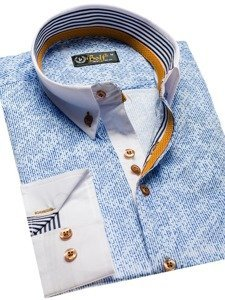 Koszula męska we wzory z długim rękawem niebieska Bolf 8842