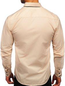 Koszula męska z długim rękawem beżowa Bolf 1721-1