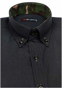 Koszula męska z długim rękawem czarna Denley 6850