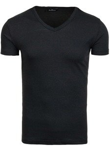 Koszulka męska bez nadruku w serek czarna Denley 1002