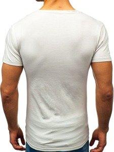 Koszulka męska z nadrukiem w serek szara Denley 1309
