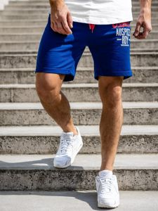 Krótkie spodenki dresowe męskie niebieskie Denley EX07-1
