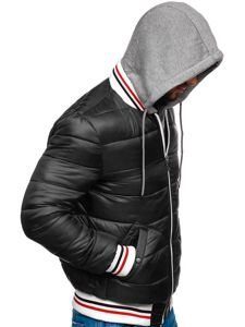Kurtka męska przejściowa sportowa pikowana czarna Denley JK395