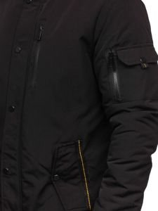 Kurtka męska zimowa parka czarna Denley 5841