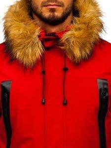 Kurtka męska zimowa parka czerwona Denley 1093