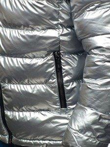 Kurtka męska zimowa sportowa dwustronna srebrno-granatowa Denley 4790