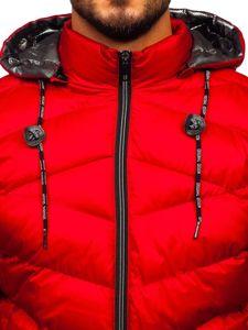 Kurtka męska zimowa sportowa pikowana czerwona Denley 50A223