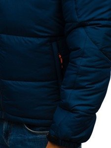 Kurtka męska zimowa sportowa pikowana granatowa Denley AB71