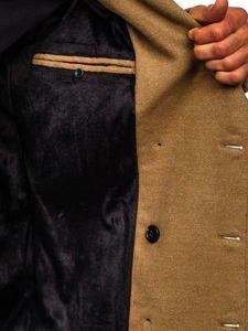 Płaszcz dwurzędowy męski zimowy camelowy z wysokim kołnierzem Denley 1048