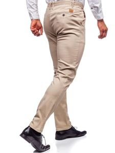 Spodnie chinosy męskie beżowe Denley KA969