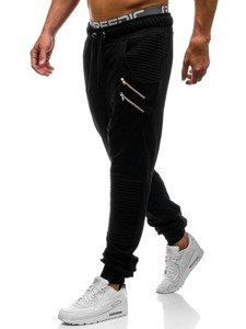 Spodnie dresowe baggy męskie czarne Denley 0476