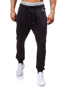 Spodnie dresowe joggery męskie czarne Denley 2652