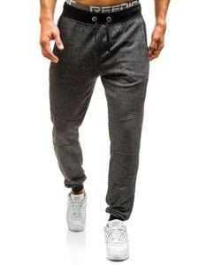 Spodnie dresowe joggery męskie czarne Denley 7001