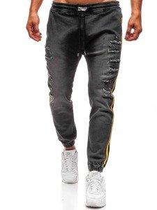 Spodnie jeansowe baggy męskie antracytowe  Denley 2041