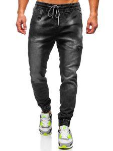 Spodnie jeansowe joggery męskie czarne Denley  KA735