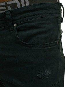 Spodnie jeansowe joggery męskie khaki Denley 457