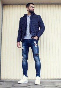 Spodnie jeansowe męskie skinny fit granatowe Denley 298