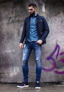 Spodnie jeansowe męskie slim fit granatowe Denley 250