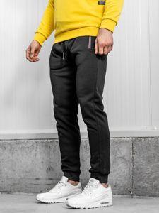 Spodnie męskie dresowe czarne Denley JX8671